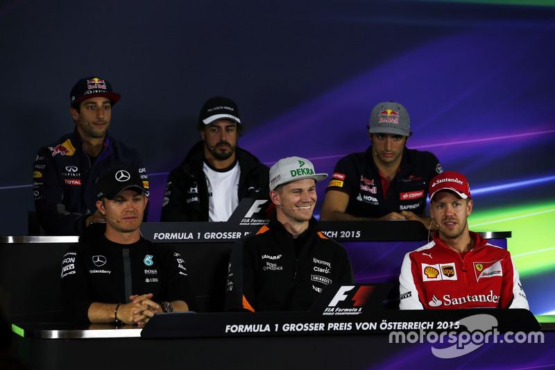 Daniel Ricciardo, Red Bull Racing; Fernando Alonso, McLaren; Carlos Sainz jr., Scuderia Toro Rosso; Nico Rosberg, Mercedes AMG F1; Nico Hülkenberg, Sahara Force India F1; Sebastian Vettel, Ferrari