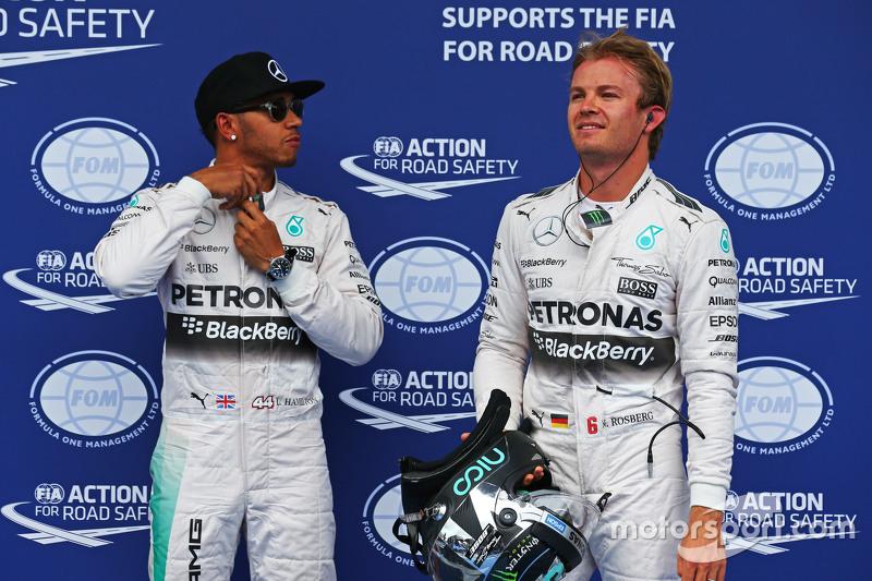 Pole-Sitter: Lewis Hamilton, Mercedes AMG F1, mit 2. Nico Rosberg, Mercedes AMG F1