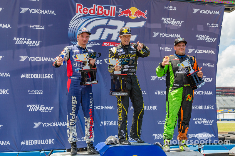 Podium: winner Tanner Foust, second place Steve Arpin, third place Sebastian Eriksson