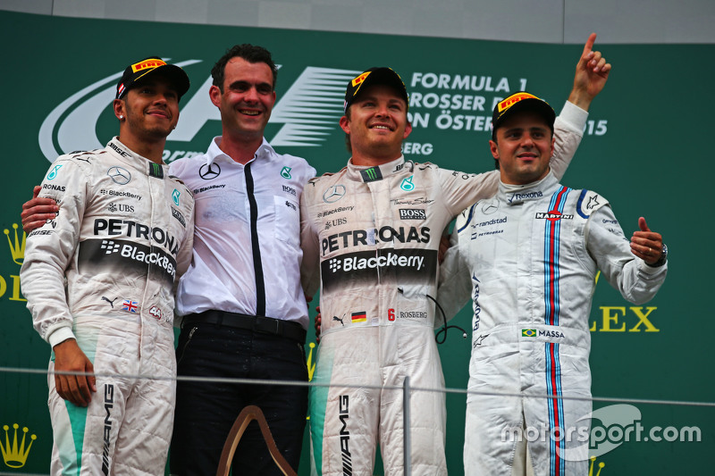 Podium: second place Lewis Hamilton and winner Nico Rosberg, Mercedes AMG F1 and third place Felipe Massa, Williams