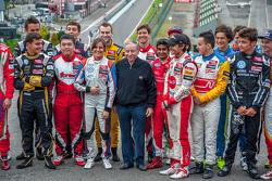 Jean Todt, FIA President met coureurs uit EK Formule 3