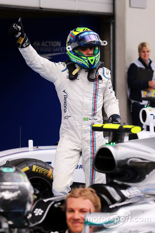 Felipe Massa, Williams viert derde plaats in parc fermé