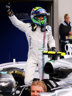 Felipe Massa, Williams celebrates his third position in parc ferme