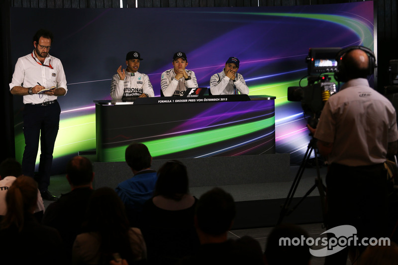 The post race FIA Press Conference,: Lewis Hamilton, Mercedes AMG F1, second; Nico Rosberg, Mercedes