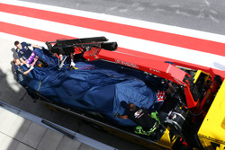 Red Bull Racing RB11 of Daniel Ricciardo, Red Bull Racing is recovered back to pits on back of a tru