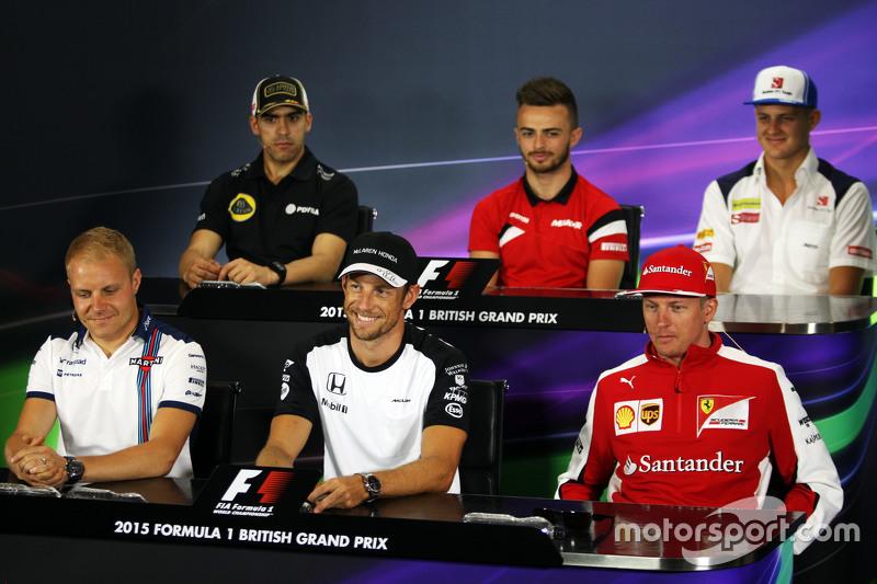 FIA-Pressekonferenz: Pastor Maldonado, Lotus F1 Team; Will Stevens, Manor F1 Team; Marcus Ericsson, Sauber F1 Team; Valtteri Bottas, Williams; Jenson Button, McLaren, und Kimi Räikkönen, Ferrari