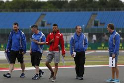 Jann Mardenborough and Mitch Gilbert, Carlin walk the track