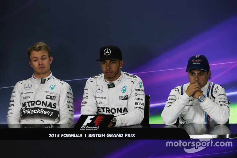 FIA Press Conference: Nico Rosberg and Lewis Hamilton, Mercedes AMG F1 and Felipe Massa, Williams, t