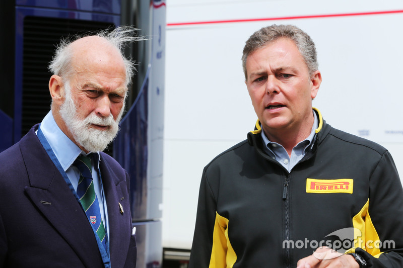 (L to R): HRH Prince Michael of Kent, with Mario Isola, Pirelli Racing Manager