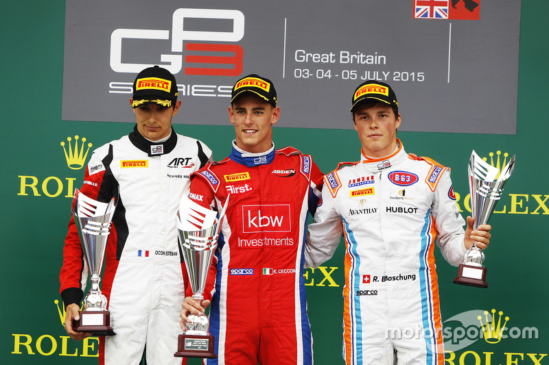 Podium: second place Esteban Ocon, ART Grand Prix and winner Kevin Ceccon, Arden International and t