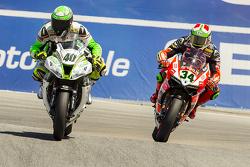 Roman Ramos, Team Go Eleven Kawasaki and Davide Giugliano, Ducati Team