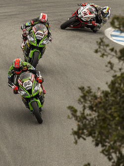 Tom Sykes, Kawasaki Racing; Jonathan Rea, Kawasaki Racing; Leon Haslam, Aprilia Racing Team Red Devils