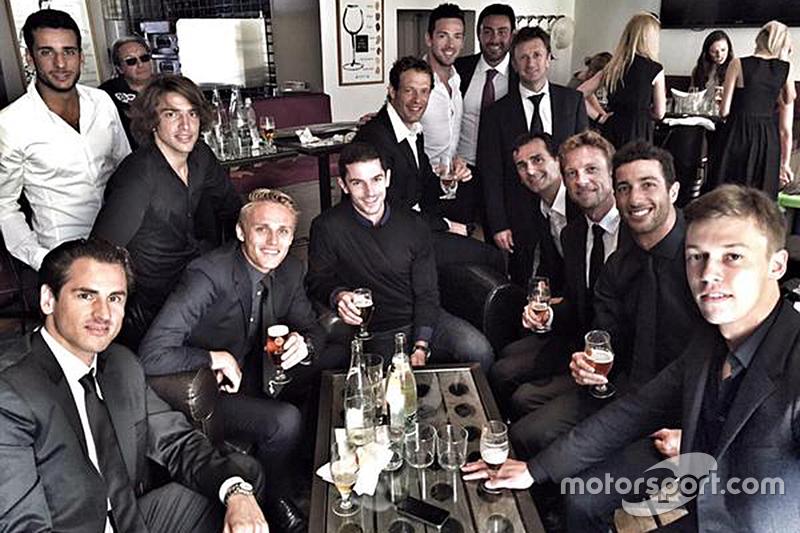 Drivers celebrate Jules Bianchi's life after his funeral service: Adrian Sutil, Roberto Mehri, Max Chilton, Alexander Rossi, Alexander Wurz, Allan McNish, Pedro de la Rosa, Jenson Button, Daniel Ricciardo, Daniil Kvyat