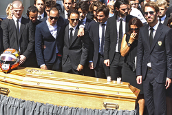 Pastor Maldonado, Felipe Massa, Jean-Eric Vergne attend the funeral of Jules Bianchi in Nice, France