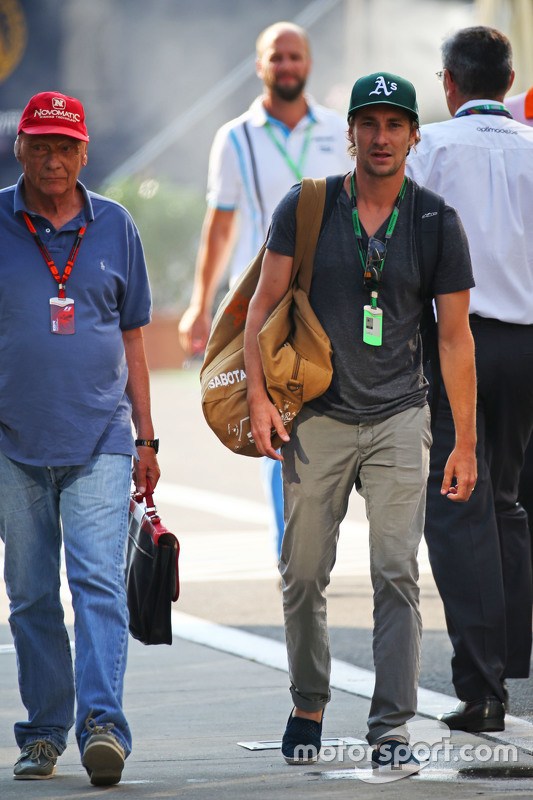 Niki Lauda, Mercedes Non-Executive Chairman bersama his son Mathias Lauda,