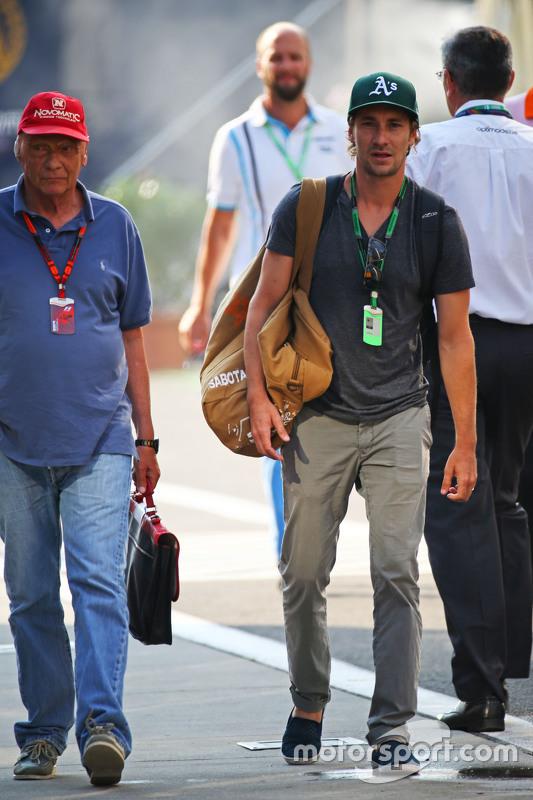Niki Lauda, Mercedes Non-Executive Chairman with his son Mathias Lauda,