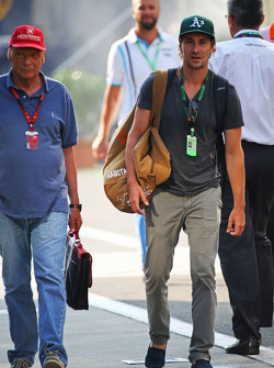 Niki Lauda, Mercedes Non-Executive Chairman with his son Mathias Lauda,