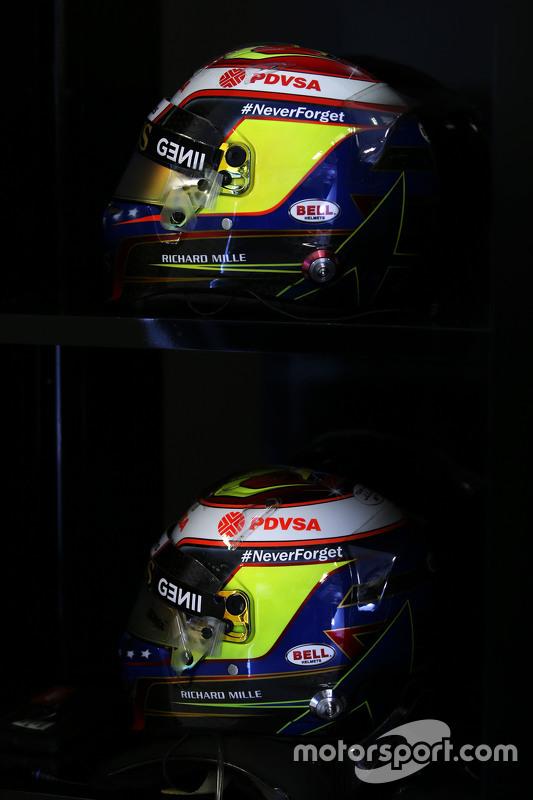 The helmets of Pastor Maldonado, Lotus F1 Team carry a tribute to Jules Bianchi