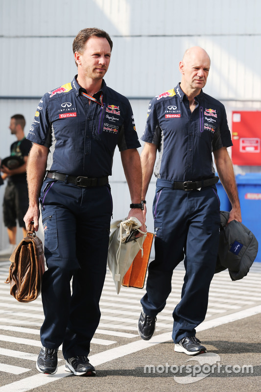 (L to R): Christian Horner, Red Bull Racing Team Principal with Adrian Newey, Red Bull Racing Chief
