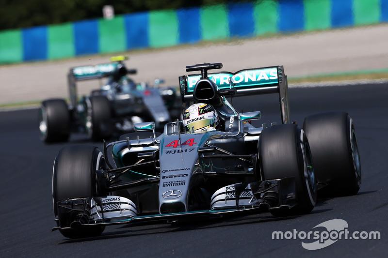 Lewis Hamilton, Mercedes AMG F1 W06 leads team mate Nico Rosberg, Mercedes AMG F1 W06