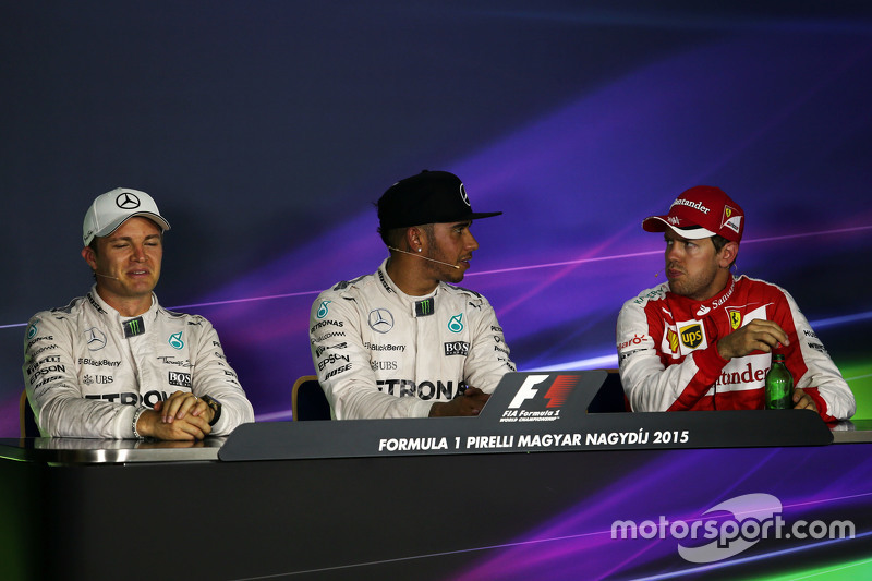 Qualifying top three in the FIA Press Conference,: Nico Rosberg, Mercedes AMG F1, second; Lewis Hamilton, Mercedes AMG F1, pole position; Sebastian Vettel, Ferrari, third