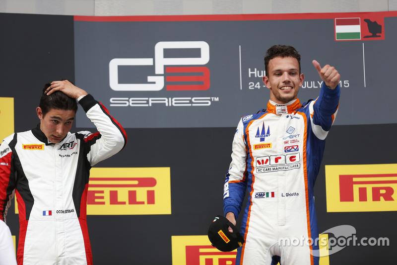 Juara balapan Luca Ghiotto, Trident, dan peringkat kedua Esteban Ocon, ART Grand Prix