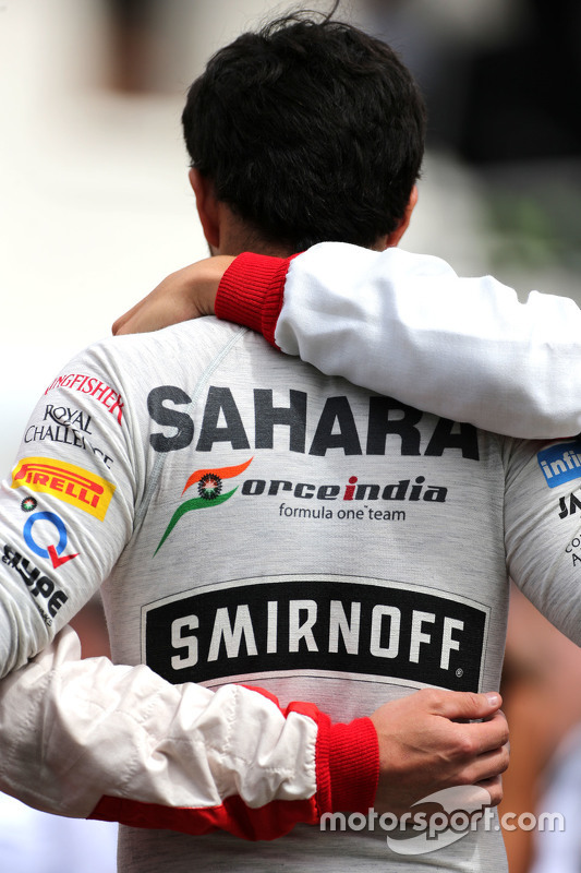 Drivers during the minute of silence for Jules Bianchi, Sergio Perez, Sahara Force India