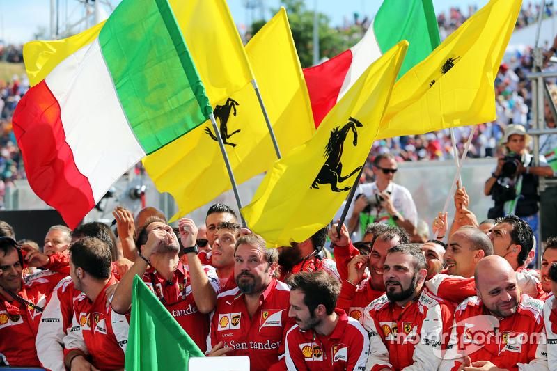 Ferrari celebrate at parc ferme