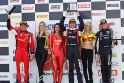 GT Podium: Race winner Ryan Dalziel second place James Davison, and third place Olivier Beretta
