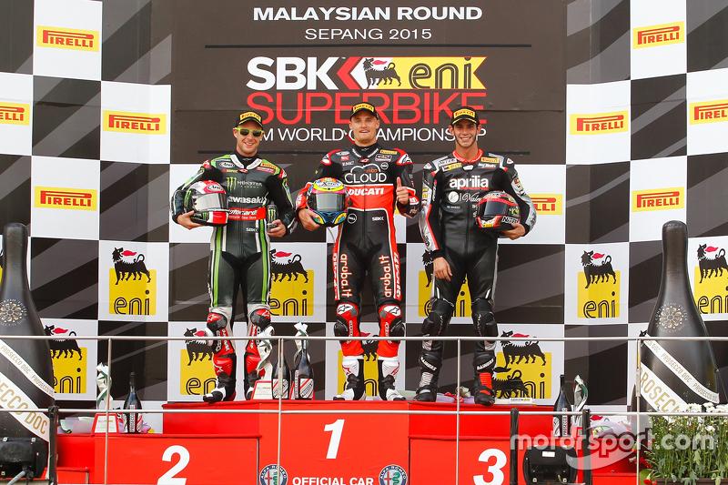 Podium race 2 : second place Jonathan Rea, Kawasaki, winner Chaz Davies, Ducati Team, third place Jordi Torres, Aprilia Racing Team