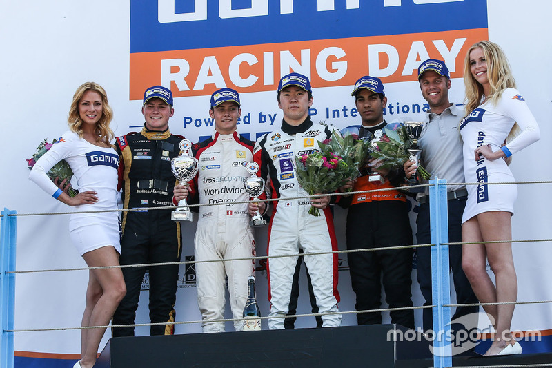 Race two winner: Louis Deletraz, Josef Kaufmann Racing, second place Callan O'Keeffe, Fortec Motorsports, third place Ukyo Sasahara, ART Junior Team, best Rookie Jehan Daruvala, Fortec Motorsports