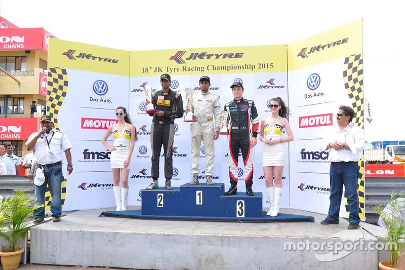 Podium race 3, winner: Akhil Rabindra, second place Vishnu Prasad , third place Costantino Peroni