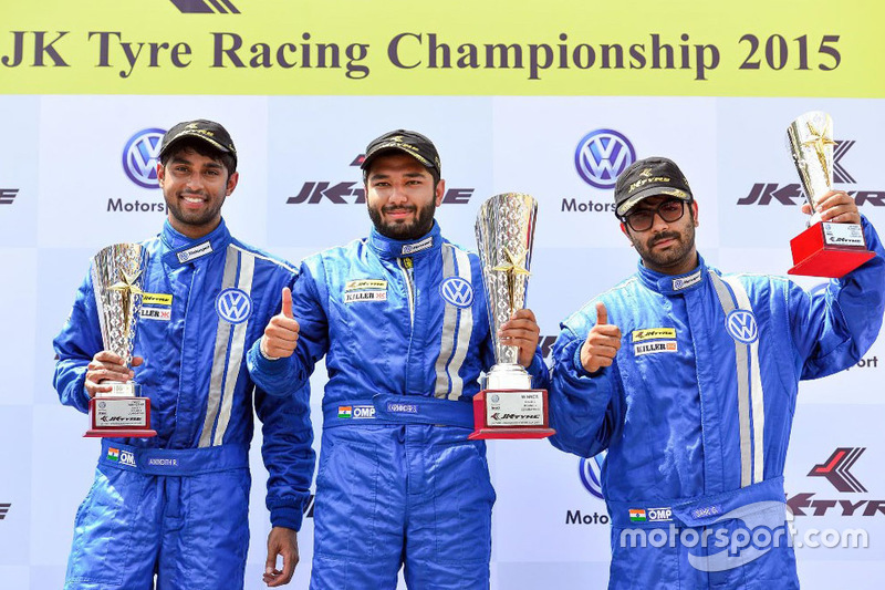 Podium: winner Karminder Singh, second place Anindith Reddy, third position Sahil Gahuri