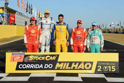 Vencedores da Corrida do Milhão: Valdeno Brito, Ricardo Maurício, Thiago Camilo, Ricardo Zonta, Rubens Barrichello