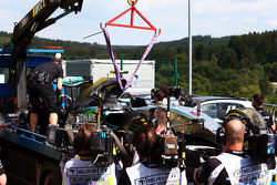 The Mercedes AMG F1 W06 of Nico Rosberg, Mercedes AMG F1 is recovered back to the pits on the back of a truck in the second practice session
