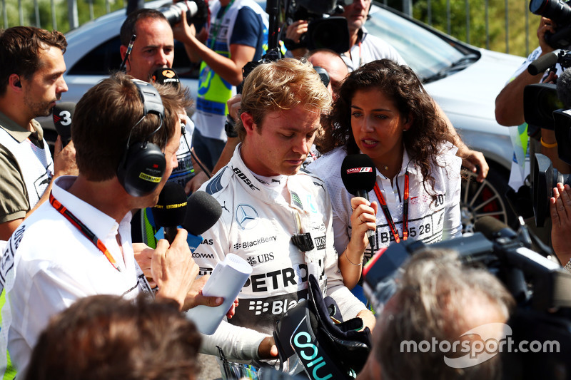 Nico Rosberg, Mercedes AMG F1 with the media in the second practice session