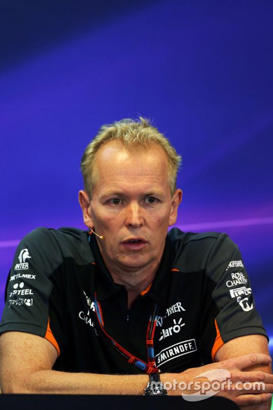 Andrew Green, Sahara Force India F1 Team technisch directeur in de FIA persconferentie
