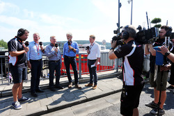 (L to R): Ted Kravitz, Sky Sports Pitlane Reporter with Martin Brundle, Sky Sports Commentator; Johnny Herbert, Sky Sports F1 Presenter; Damon Hill, Sky Sports Presenter; and Simon Lazenby, Sky Sports F1 TV Presenter