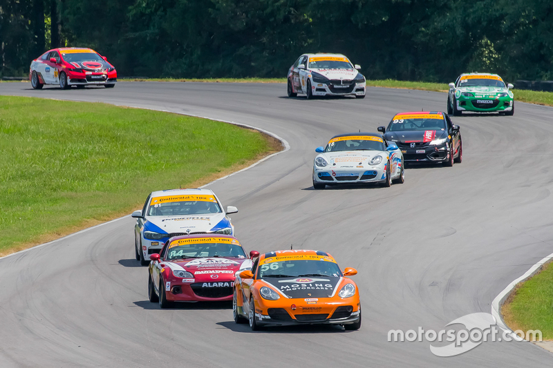 RAlton, VA - Aug 22, 2015: The Continental Tire Sports Car Challenge teams take to the track on Con