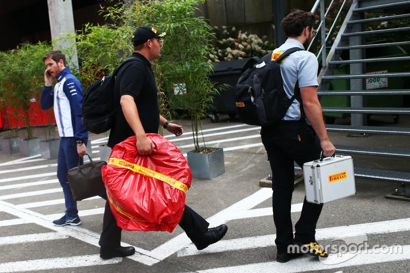 The Pirelli race tyres of Sebastian Vettel, Ferrari are taken from the paddock for further investigation