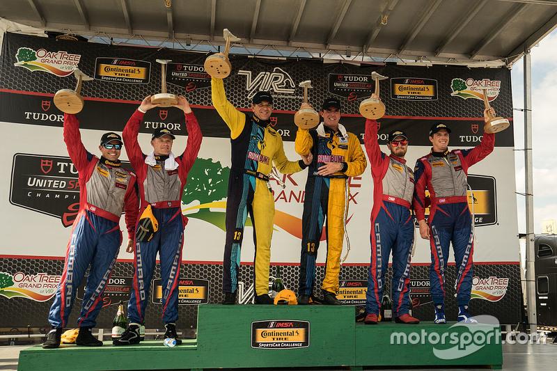 Podium: Race winners #13 Rum Bum Racing Porsche 911: Matt Plumb, Hugh Plumb, second place #9 Stevens