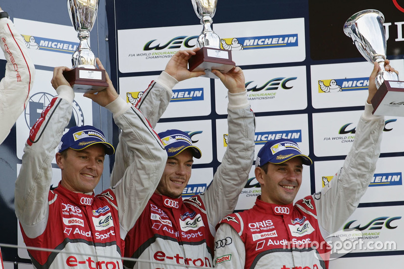 Overall podium: third place #7 Audi Sport Team Joest Audi R18 e-tron quattro: Marcel Fässler, Andre