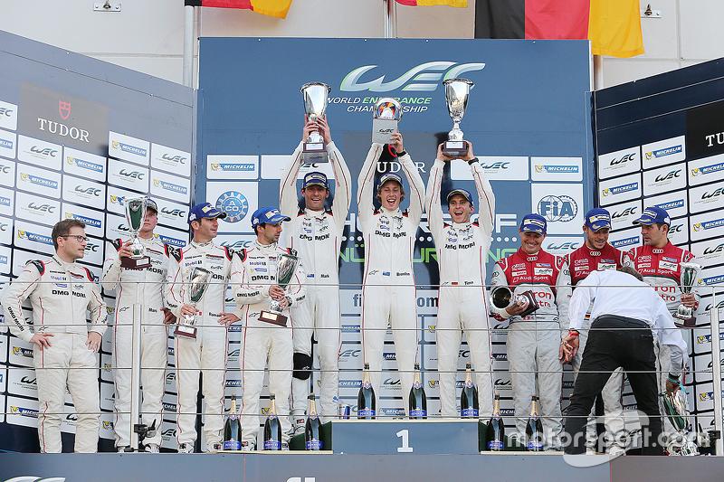 Podium: 1. Timo Bernhard, Mark Webber, Brendon Hartley, Porsche Team; 2. Romain Dumas, Neel Jani, Marc Lieb; 3. Marcel Fässler, Andre Lotterer, Benoit Tréluyer, Audi Sport Team Joest