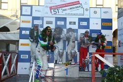 Podio: il vincitore Paolo Andreucci, Peugeot Sport Italia, secondo Alessandro Perico, P.A. Racing, terzo Giandomenico Basso, BRC. I festeggiamenti