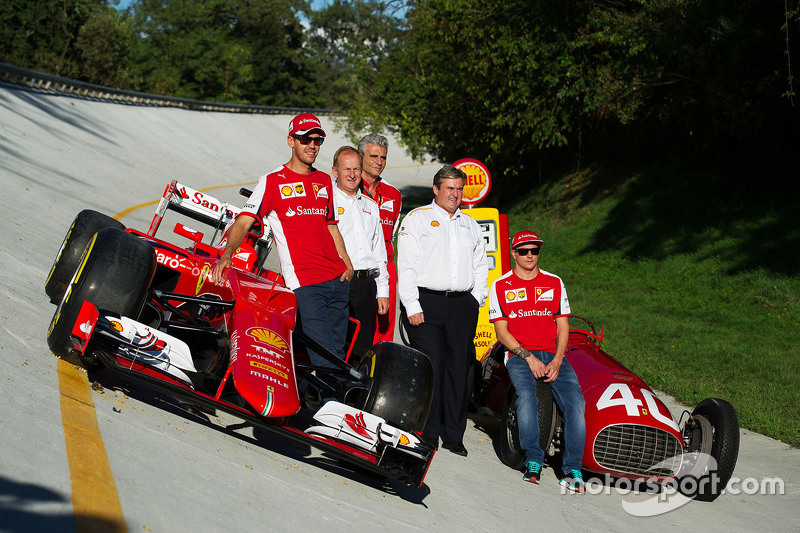 The Ferrari SF15-T and Ferrari 166 F1 cars on the Monza banking with Sebastian Vettel, Ferrari, John Abbott, Shell Downstream Director, Maurizio Arrivabene, Ferrari Team Principal, Istvan Kapitany, Shell Executive Vice President, Retail and Kimi Raikkonen Ferrari