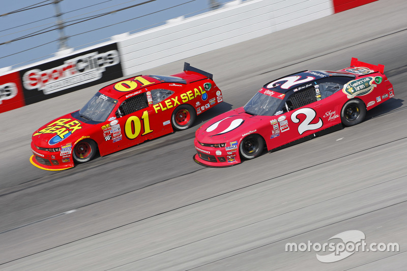 Landon Cassill, JD Motorsports Chevrolet and Brian Scott, Richard Childress Racing Chevrolet