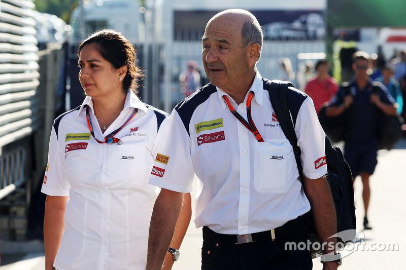 Monisha Kaltenborn, Sauber Team Principal with Peter Sauber, Sauber President of the Board of Director