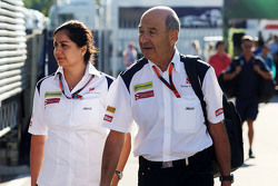 Monisha Kaltenborn, Sauber Team Principal with Peter Sauber, Sauber President of the Board of Director