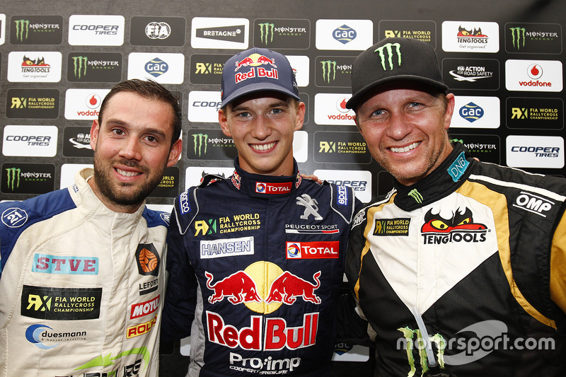 Podium: Race winner Timmy Hansen, Team Peugeot-Hansen, second place, second place Petter Solberg, SDRX CitroÎn DS3 RX and third place Jean-Baptiste Dubourg
