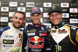 Podium: Race winner Timmy Hansen, Team Peugeot-Hansen, second place, second place Petter Solberg, SDRX CitroÎn DS3 RX and third place Jean-Baptiste Dubourg